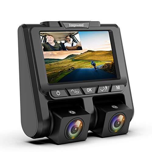 """TOGUARD Uber Dual Dash Cam Full HD 1080P+1080P Inside and Outside Car Camera Dash Cams 3"""" LCD 340° Dashboard Camera with G-Sensor, WDR, Parking Monitor, Motion Detection for Truck Car Taxi"""