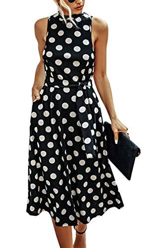 Spec4Y Kleider Damen Lang Rockabilly Vintage Cocktailkleid Elegant Partykleid Polka Dot Ärmellos Sommerkleider mit Taschen Schwarz Large