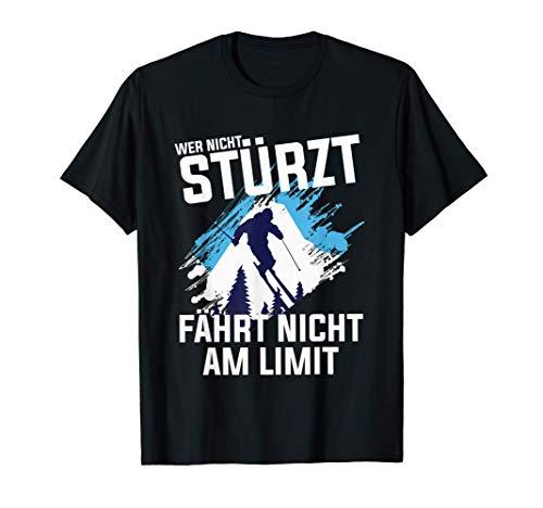 Skifahrer Ski Stürzen Snowboarder lustiges T-Shirt