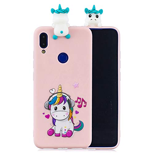 KANTAS Funda para Xiaomi Redmi Note 7 Case in Silicona Case Suave TPU Bumper Diseño Música Unicornio Dibujos Animados 3D Ultrafina Carcasa Cover Soft Case Caja Caucho Flexible Ultra Fino Delgado