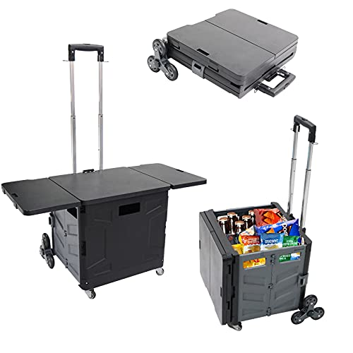 8 Wheeled Collapsible Utility Cart, Folding Shopping Cart Wheeled Rolling Crate, Stair Climbing Cart with Telescoping Handle, Folding Handcart with Lid for Camping Shopping Moving Luggage Office Use