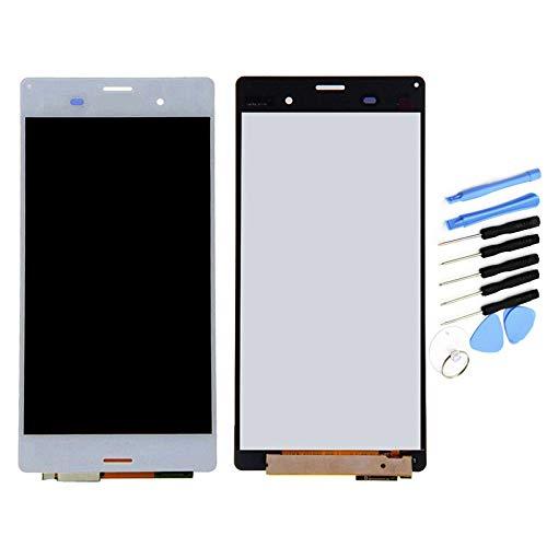 YQZ Sony Xperia Z3 SO-01G SOL26 401SO D6603 D6616 D6653 D6683 修理交換用フロントパネル LCD タッチパネル 液晶パネル(フロントガラスデジタイザ)修理工具セット付き (ホワイト)