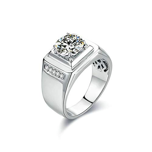 Aartoil Men's 925 Sterling Silver Wedding Engagement Ring Round White Moissanite Size T 1/2