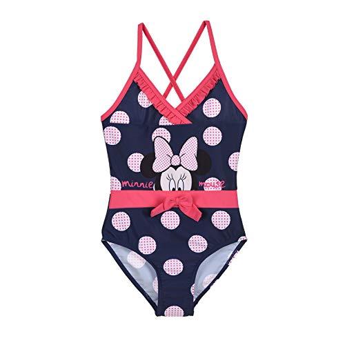 Minnie Mouse Badeanzug Mädchen Bikini Badempde Kinder Dunkelblau und Rosa mit Punkten Gr. 98 104 116 128 cm 3 4 5 6 7 8 9 10 Jahre (Dunkelblau, 116)