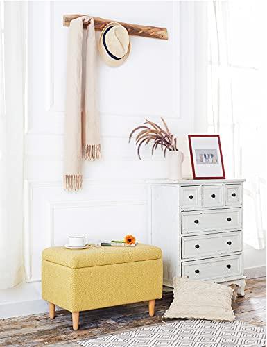 Sitzbank mit Stauraum Aufbewahrungsbox aus Leinen Sitzhocker und Deckel mit Holzfüßen Truhenbank Stoffbezug Gepolsterte Betthocker Modern Design für Wohnzimmer Büro Schlafzimmer Flur Gelb - 3