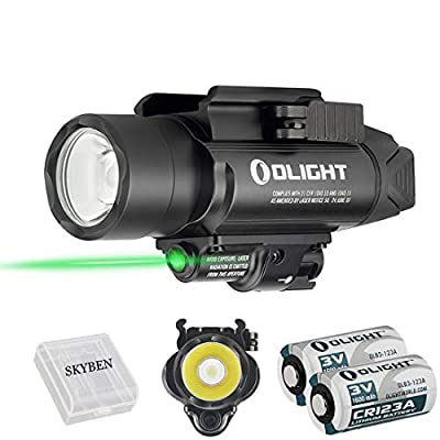 Olight Baldr Pro 1350 Lumens Tactical Flashlight,with Green Light and White LED,Compatible with 1913 or GL Rail, Powered by 2 CR123A Batteries,with SKYBEN Battery Box (Black)