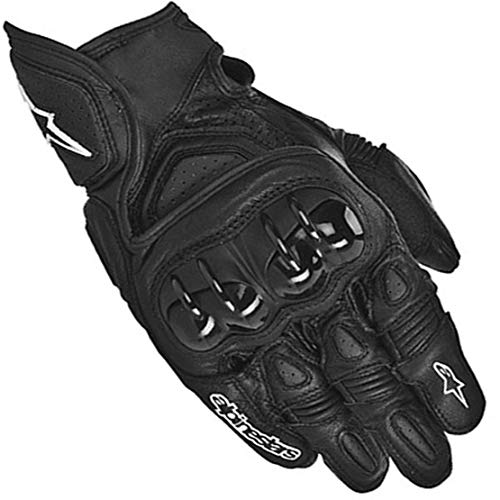 GPX Guantes de Cuero para Moto Anti-caída Antideslizante Guantes Llenos de Dedos para Montar al Aire Libre,Black,L