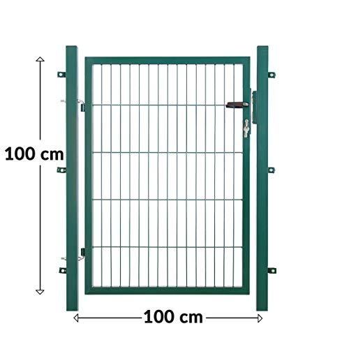 Koll Living Tuindeur voor staafmattenhek, kleur en hoogte naar keuze, incl. palen en bevestigingsmateriaal Gartentor H 100 x B 100 cm, grün