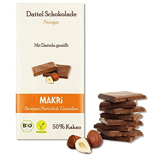 MAKRi Dattel Schokolade – Nougat 50%   Mit Datteln gesüßt   Vegan & Bio   Fair gehandelt   Ohne raffinierten Zucker (5x 85g)