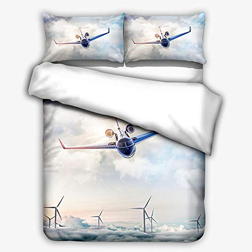 Hbvvaceo Double Comforter Cover 3D Sky plane sailing Bedding Sets with Zipper Closure 3 Pieces Kids Bedding Printed Duvet Cover for Boys, Teens 200 x 200 cm Children's bedding set-baby bedding set