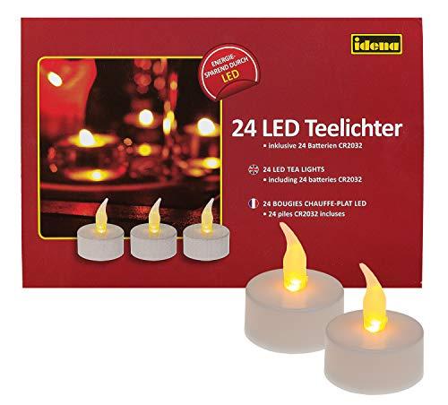 Idena 50023 - LED Teelichter, 24 Stück, elektrische Kerzen mit flackerndem Licht, inklusive Batterien, Deko für Hochzeit, Party, Weihnachten, im Karton, Ostern, als Stimmungslicht