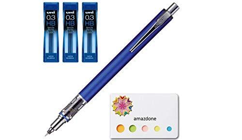 Uni Kuru Toga Advance - Auto Lead Rotating Mechanical Pencil 0.3mm Navy (M3-5591P.9) + Lead 3 Set (U03202NDHB) and Our Original Sticky Notes