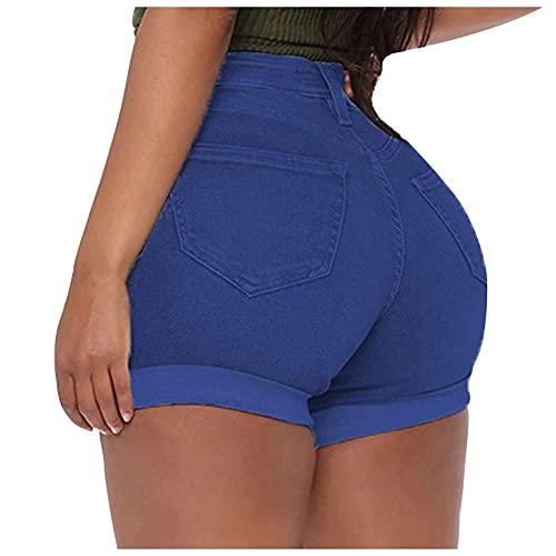 Pantalones Cortos Vaqueros Mujer Color Liso Push Up Shorts Vaqueros Sexy con Bolsillos Laterales Pantalones Cortos Mujer Verano Elegante Pantalón Corto Mujer Ideal para Compras,Trabajo,Fiesta