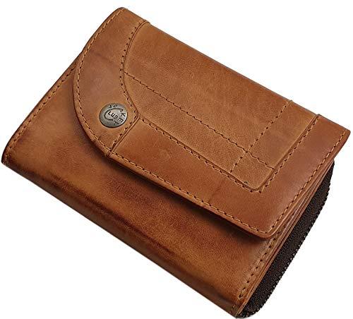 Koeienhuid dames portemonnee/portemonnee/portemonnee/portemonnee/portemonnee met RFID & NFC-bescherming in cognac of kersenrood