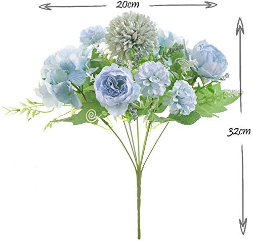 NAWEIDA Flores artificiales, ramo de hortensias de seda, decoración de peonías falsas, claveles de plástico, arreglos…