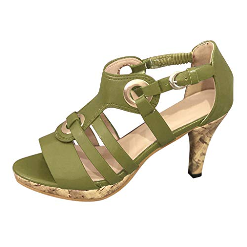 LATINDAY High Heel Sandals Womens Summer Elegant Buckle Strap Ankle Peep Toe High Heel Sandals Shoes Green