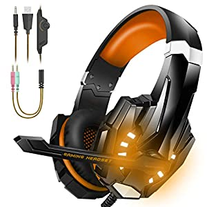 BENGOO Stereo Gaming Headset for PS4, PC, Xbox One Controller, Noise Cancelling Over Ear Headphones with Mic, LED Light, Bass Surround, Soft Memory Orange