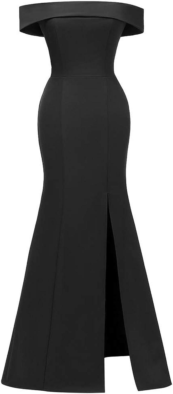 OldSch001 Fashion Women Solid Off Shoulder Bodycom Split Evening Party Long Swing Dress