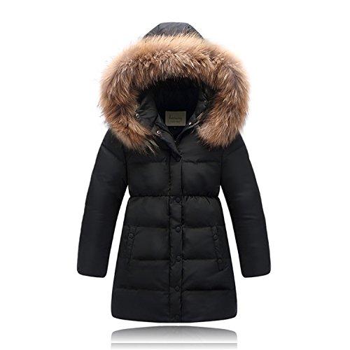 Seeduck Big Girls' Winter Parka Down Coat Puffer Jacket Padded Overcoat with Fur Hood (6T=130CM=51.2 Inch, Black)