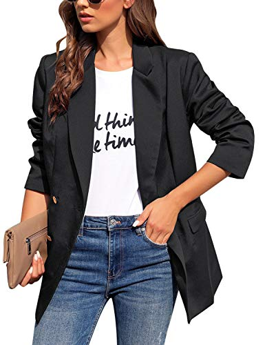 Roskiky Women's Notched Lapel Collar Double-Breasted Blazer Pocket Long Jacket Suit Black Size M