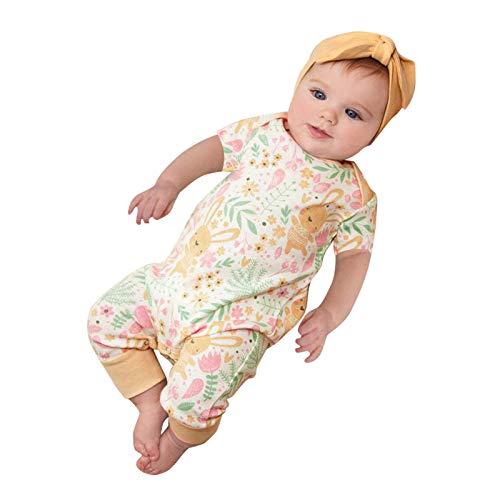 Overall Unisex Ostern Baby Strampler Kleinkind Niedlich Bequem Baby Mädchen Jungs Kurzarm Osterhase Spielanzug Baumwolle Ostereier Romper Easter Kleidung Outfits Frühling Blumen Baby Jumpsuit