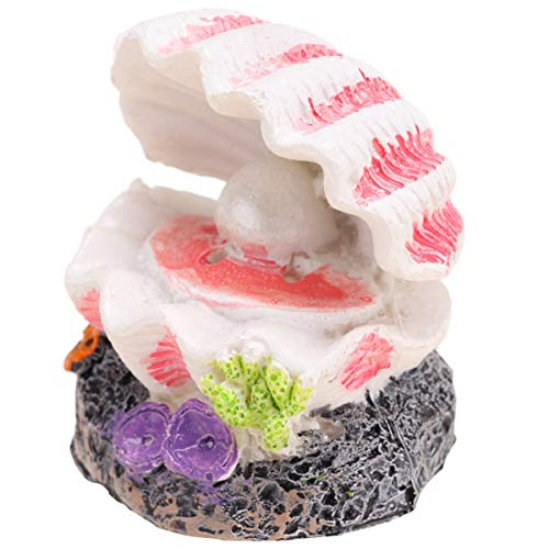 QULONG Aquarium Garden Decorations Ornament Shell - Bubbling Fish Tank Decorations Shell Pearl & Air Stone Ornament Shell Rock Bubbler Bubbling Decor