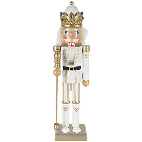 OBC-Kunsthandwerk Nussknacker Deko Figur König mit Zepter weiß-Gold / 38 cm/Nussknacker Holzfigur/handbemalt im Erzgebirge Stil/weihnachtlich dekorieren