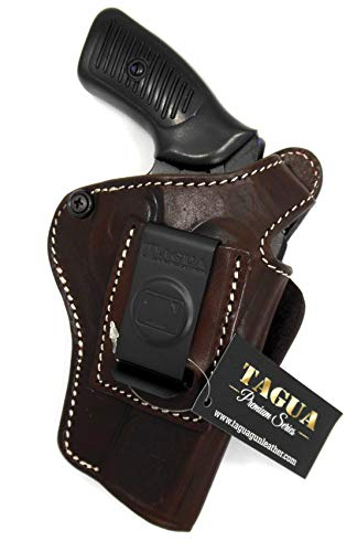 HOLSTERMART USA TAGUA Premium Deluxe Right Hand Dark Brown Leather IWB OWB 4 in 1 Thumb Break Holster for Ruger SP101 Revolver, 3' Barrel