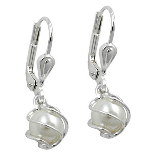 MYA art Damen Creolen 925 Silber rhodiniert mit weißen Perlen Zirkonia Strass Steinen Anhänger Brisur Ohrringe Hängend Perlenohrringe Weiß