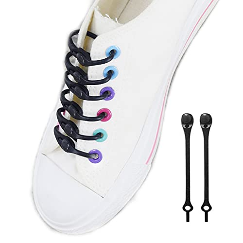 2021 New Lazy Silicone Shoelaces Round Elastic Shoe Laces,Tie-Free Laces Rubber Shoe Strings for All Sneakers (Black)