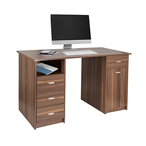 hjh OFFICE Easy Work IV 821005 - Escritorio (140 x 50 cm, madera de nogal, con mucho espacio, fácil de cuidar)