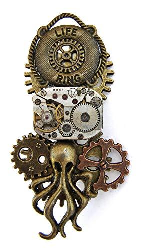 Steampunk-Brosche, Anstecknadel, Bronze, Oktopus, Uhrwerk und Zahnräder mit grünen Strasssteinen