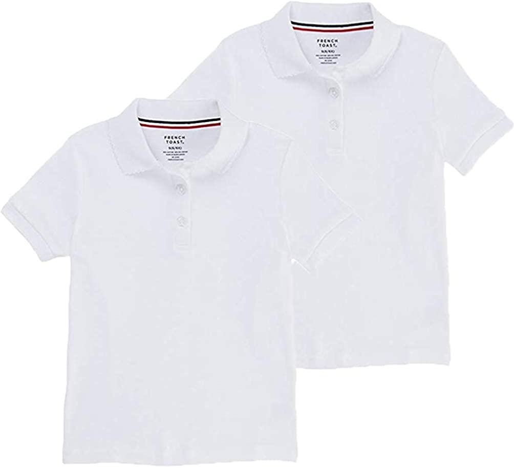 French Toast Kid Girls Short Sleeve Polo Shirt 2 Piece Set Size Small (6/6X) Color White