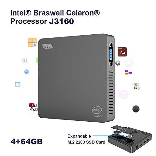 SeeKool J36-V Mini PC Supporta Windows 10, Processore Intel Braswell Celeron J3160 4GB Ram 64GB Rom Graphics HD, 1000Mbps LAN MINI Computer con VGA/HDMI Outputs/Bluetooth 4.0 /USB 2.0&3.0