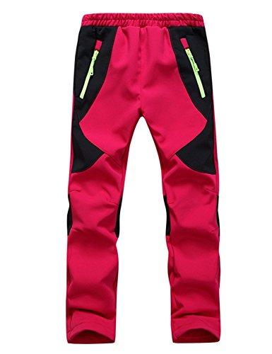 Echinodon Kinder Gefütterte Hose Softshellhose Wasserdicht Winddicht Atmungsaktiv Warm Regenhose Jungen Mädchen Trekkinghose Skihose Rot XL