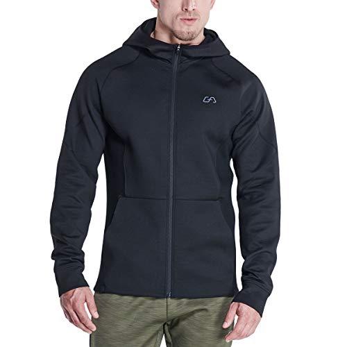 GYM AESTHETICS | Chaqueta deportiva para hombre Outrun Active Softshell con bolsillos y cremallera, para niños y otros deportes en negro (XL)