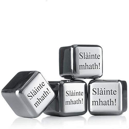Sterngraf Kühlsteine MIT Gravur (z.B. Slàinte mhath) ** 4 Wiederverwendbare Edelstahl-Eiswürfel von vacu vin ** Whisky-Steine Ice Cubes Set