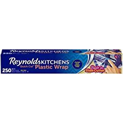 This package contains one roll of Reynolds Kitchens Quick Cut Plastic Wrap, measuring 250 feet long by 12 inches wide (250 square feet) Stretch tight plastic wrap provides a tight seal to protect food and extend freshness The food wrap with slide cut...