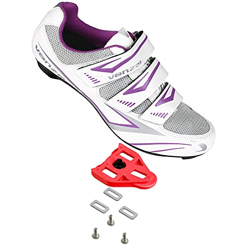 Venzo Bike Bicycle Women's Ladies Cycling Riding Shoes - Compatible with Peloton Shimano SPD & Look ARC Delta - Perfect for Indoor Indoor Road Racing Indoor Exercise Bikes - with Delta Cleats 44