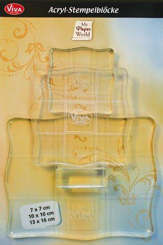 Viva Decor Viva Decor VD400390100 Acryl-Stempelblöcke mit Griff, 3er-Set, Synthetic Material, durchsichtig, 7x7, 10x10, 13x16 cm