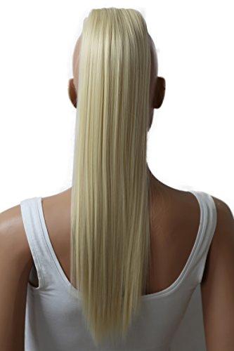 PRETTYSHOP 50cm Postiche Natte Queue De Cheval Extensions De Cheveux Raide Blond Platine H71