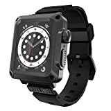 HUALIMEI Case for Apple Watch 42mm Series 3 Heavy Duty Metal Bumper Case with Band Built-in Tempered Glass for Men's iWatch 3 2 1 42mm Full Protective Cover with Straps Screen Protector (Black)
