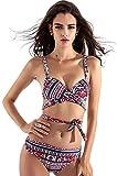 AGLOAT Bikini de moda 2020 para mujer, estampado con vendas de empuje – Elegante traje de baño triángulo único Bustier sujetador de cintura alta, A-S