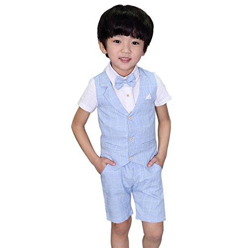 Traje - para niño Boda de Verano Mixta de algodón/Lino Mezcla de Chaleco Corto niño Trajes de página, Chaleco (Azul, 8-9 años)