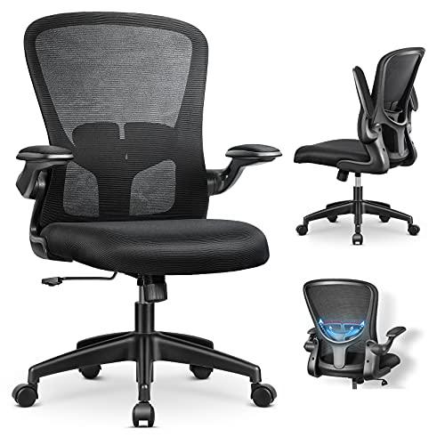 MFAVOUR-Bürostuhl ergonomisch, Ergonomischer Schreibtischstuhl mit Klappbaren Armlehnen, Arbeitsstuhl mit Verstellbarer Lordosenstütze, Kopfstütze und Armlehne, Atmungsaktiver Mesh-Drehstuhl, Schwarz