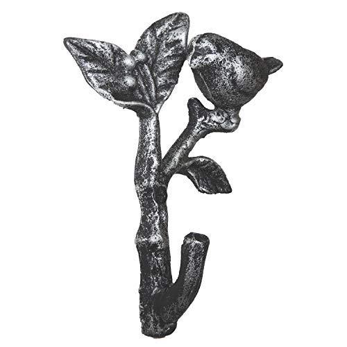 Comfify Muurvogel op een tak Enkele wandhaak/Hanger - Metaal, Zwaar, Rustiek, Vintage, Gerecycleerd, Decoratief Geschenk Idee -12x4.5x15.3 cm - Met Schroeven en Ankers (Roestbruin) (Zilver met Zwart)