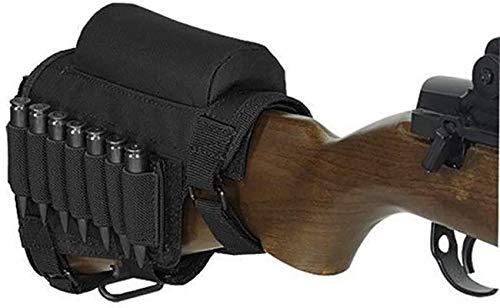 Gexgune Culata de Rifle Pistola táctica, Caza Tiro táctico mejilla Resto Pad munición Bolsa con 7 Conchas Titular mejilla Culata Resto Riser Cartuchos Portador Soporte (Negro)