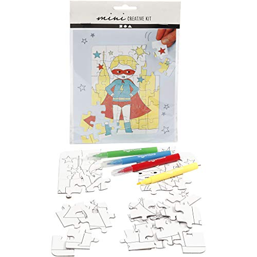 Mini Creatieve Set, puzzel - superheld, wit, 1set