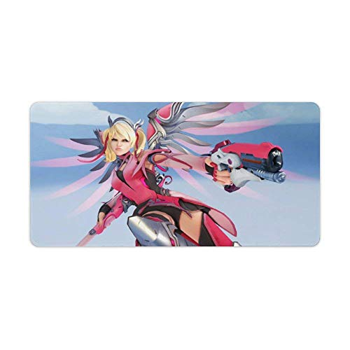 Overwatch Extended Gaming Mousepad Pink Mercy Overwatch Großes glattes Mousepad Großes Schreibtischset Mousepads für Computer