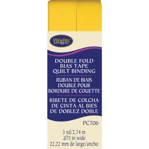 Wrights Double Fold Quilt Binding, 7/8 by 3-Yard, Yellow